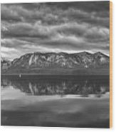 Stormy Lake Tahoe Black And White Wood Print