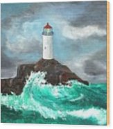 Stormy Ligthouse Wood Print