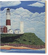 Stormy Montauk Point Lighthouse Wood Print