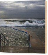 Stormy Morning At Collaroy Wood Print by Avalon Fine Art Photography