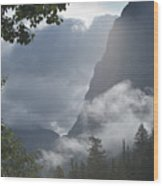 Stormy Morning In Glacier Wood Print