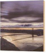 Stormy Morning Sf Bay Bridge Wood Print