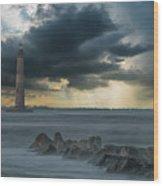 Stormy Morris Island Wood Print