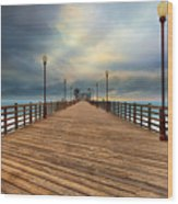 Stormy Oceanside Sunset Wood Print