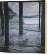 Stormy Pier Wood Print by Gary Zuercher