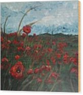 Stormy Poppies Wood Print