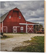 Stormy Red Barn Wood Print
