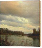 Stormy River Wood Print