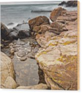 Stormy Rock Beach Wood Print