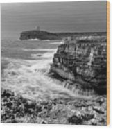 stormy sea - Slow waves in a rocky coast black and white photo by pedro cardona Wood Print