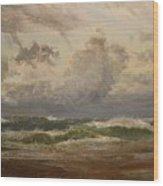 Stormy Sea At Bude Wood Print