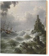 Stormy Sea With Lighthouse On The Coast Wood Print