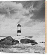 Stormy Seas Black And White Wood Print