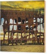 Stormy Shipwreck Wood Print