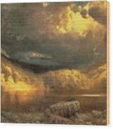 Stormy Skies Above Echo Lake White Mountains  Wood Print