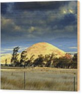 Stormy Skies Over Sunset Cinder Cone Wood Print