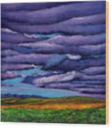 Stormy Skies Over the Prairie Wood Print