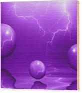 Stormy Skies - Purple Wood Print