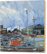 Stormy Sky Over Shipyard And Steel Mill Wood Print