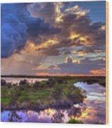 Stormy Sunrise Wood Print