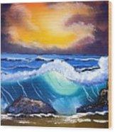 Stormy Sunset Shoreline Wood Print