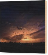 Stormy Sunset Wood Print