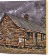 Stormy Times Tenant House Greene County Georgia Art Wood Print