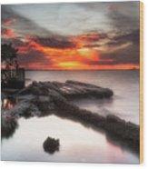 Stormy Twilight Afterglow Wood Print