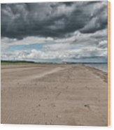 Stormy Weather Over Tentsmuir Beach In Scotland Wood Print