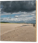 Stormy Weather Over The Beach In Scotland Wood Print