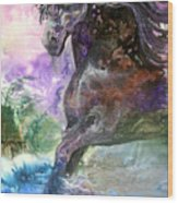 Stormy Wind Horse Wood Print