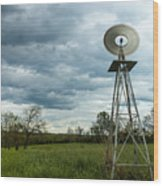 Stormy Windy Windmill Wood Print