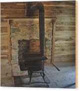 Stove In A Cabin Wood Print by Jeff Moose