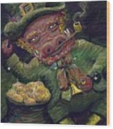 St.patricks Day Pig Wood Print