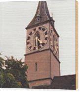 St.peter Church Clock In Zurich Switzerland Wood Print