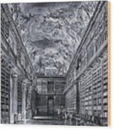 Strahov Monastery Philosophical Hall Bw Wood Print