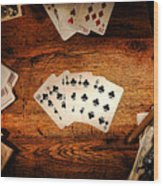 Straight Flush Wood Print by Olivier Le Queinec