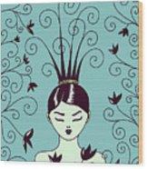 Strange Hairstyle And Flowery Swirls Wood Print