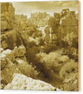 Strange Rock Formations At El Torcal Near Antequera Spain Wood Print