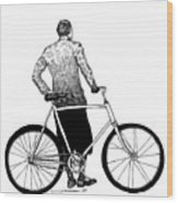 Stranger With Bike Wood Print by Karl Addison