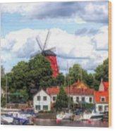 Windmill In Strangnas Sweden Wood Print