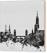 Strasbourg Skyline-black Wood Print