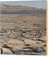 Stratified Rock On Mars Wood Print