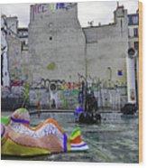 Stravinsky Fountain Near Centre Pompidou In Paris, France Wood Print