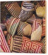 Straw Bags Oaxaca Mexico Wood Print