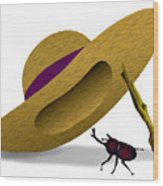 Straw Hat And Horn Beetle Wood Print