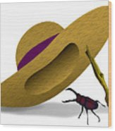 Straw Hat And Stag Beetle Wood Print