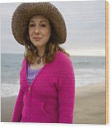 Straw Hat At The Beach Wood Print