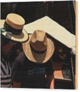 Straw Hats In Venice Wood Print