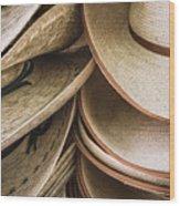 Straw Hats Wood Print